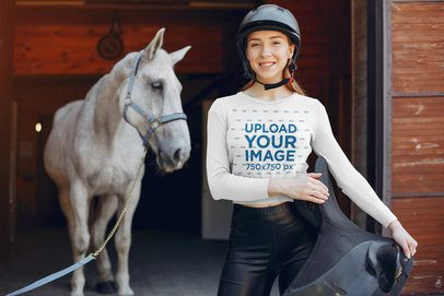 Long Sleeve Tee Mockup of a Woman Standing Near a Horse 39116-r-el2