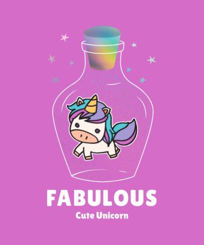 Illustrated T-Shirt Design Maker Featuring a Cute Unicorn Inside a Bottle 2210a-el1