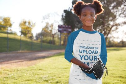 Raglan Tee Mockup of a Little Girl Playing Baseball 39383-r-el2