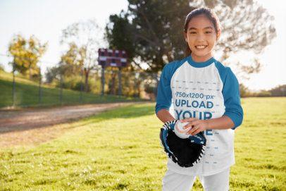 Three-Quarter Sleeve Tee Mockup of a Girl Playing Baseball for Fun 39384-r-el2