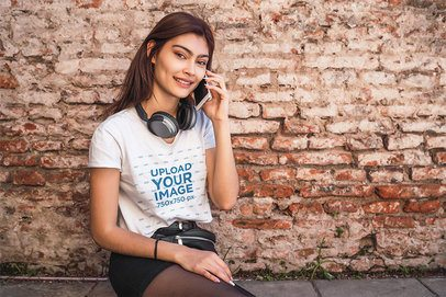 T-Shirt Mockup Featuring a Young Woman Talking on the Phone 39196-r-el2
