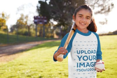 Raglan T-Shirt Mockup of a Girl with a Baseball Bat at a Field 39388-r-el2