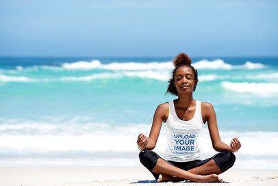Tank Top Mockup of a Woman Doing Meditation at the Beach 38597-r-el2