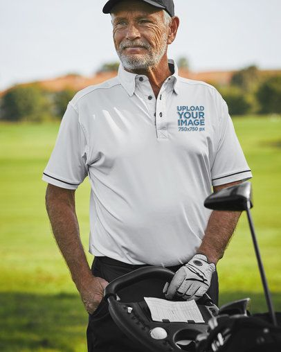 Polo Shirt Mockup of a Senior Golf Player 39487-r-el2