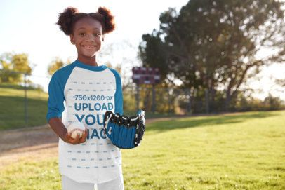 Raglan Tee Mockup of a Happy Girl at Baseball Practice 39387-r-el2