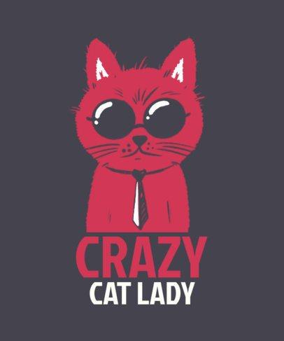 Illustrated T-Shirt Design Template for Cat Ladies 2736k