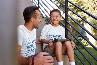 T-Shirt and Long Sleeve Tee Mockup of a Happy Kid Sitting on a Staircase With His Dad 39580-r-el2