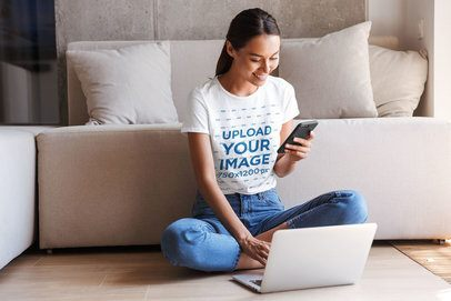T-Shirt Mockup of a Young Woman Working from Home 37655-r-el2