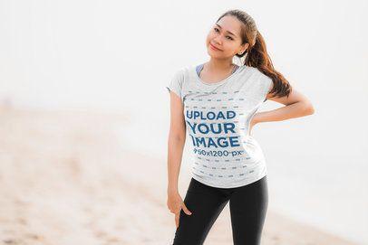 T-Shirt Mockup of a Smiling Woman Posing 39446-r-el2
