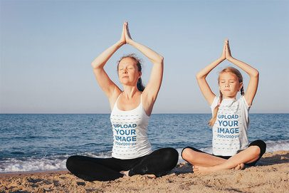 Tank Top and T-Shirt Mockup Featuring a Mother and Daughter Meditating at the Beach 35294-r-el2