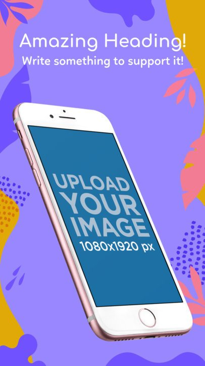 Angled Pink iPhone 7 iOS Screenshot Maker 1343