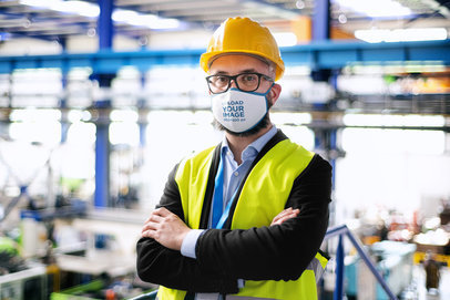 Mockup of a Factory Worker Wearing a Face Mask 39660-r-el2