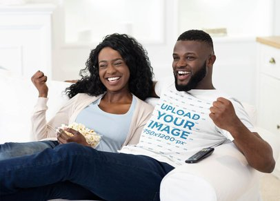 T-Shirt Mockup of a Man Eating Popcorn on a Couch with his Girlfriend 37548-r-el2