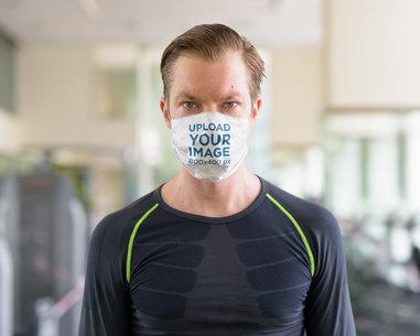 Mockup of a Man Wearing Face Mask Inside a Gym 39944-r-el2