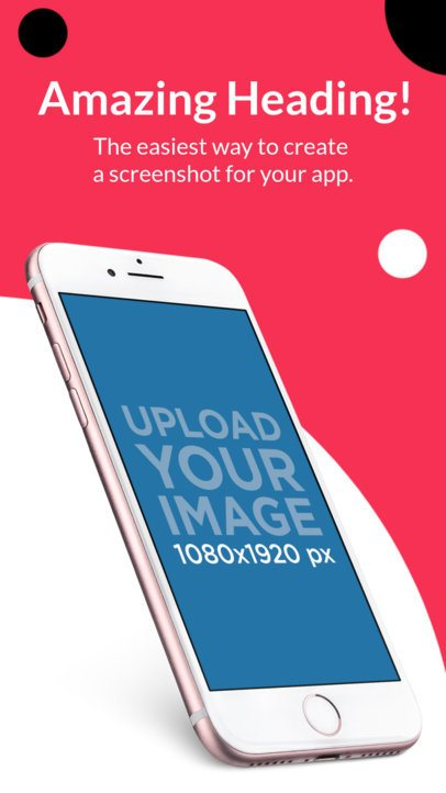 Pink iPhone 7 Angled Screenshot Appstore Builder