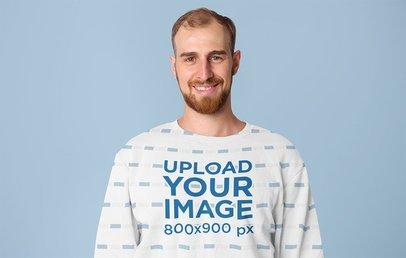 Sublimated Sweatshirt Mockup Featuring a Smiling Man in a Studio 40046-r-el2