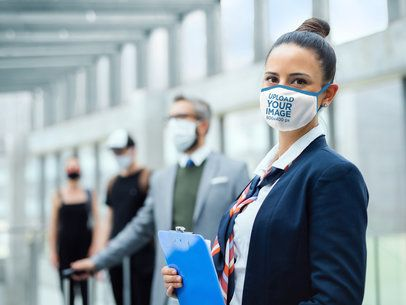 Mockup of an Airport Worker Wearing a Face Mask 38999-r-el2