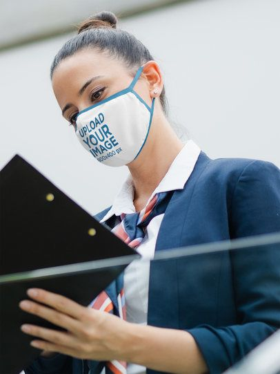 Face Mask Mockup Featuring an Airport Worker 39815-r-el2