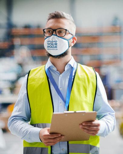 Face Mask Mockup Featuring a Man with Glasses Working 39917-r-el2