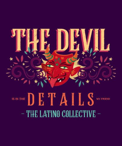 Colorful T-Shirt Design Creator Featuring a Latin Devil Mask Graphic 2778a