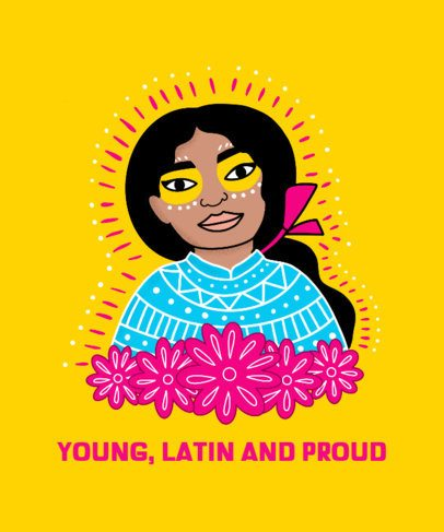 Illustrated T-Shirt Design Generator with a Latino-Pride Quote 2779c
