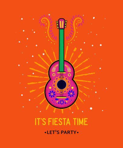 T-Shirt Design Template Featuring a Colorful Acoustic Guitar Illustration 2779i