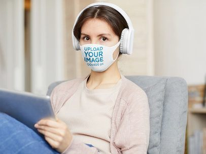 Face Mask Mockup of a Woman Listening to Music 37206-r-el2