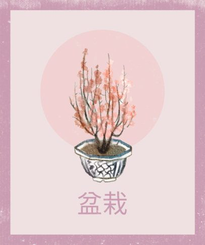 T-Shirt Design Template with the Illustration of a Miniature Sakura Tree 2498d-el1
