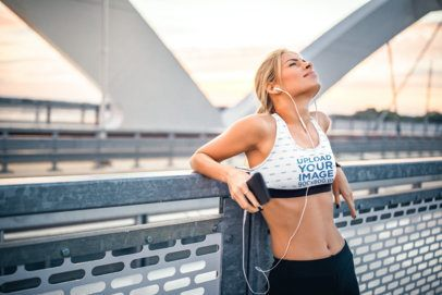 Sports Bra Mockup Featuring a Runner Catching Her Breath 35075-r-el2