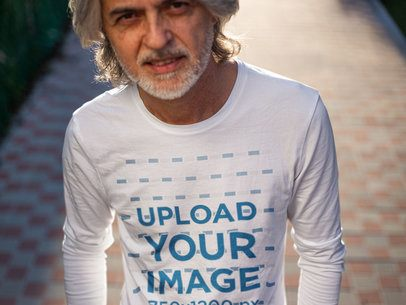 Long Sleeve Tee Mockup of a White-Haired Man with a Bold Look 12253