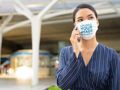 Face Mask Mockup Featuring a Serious Woman Making a Call 40357-r-el2