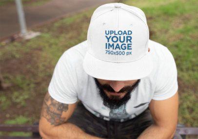 Mockup of a Bearded Man Wearing a Snapback Hat 11842