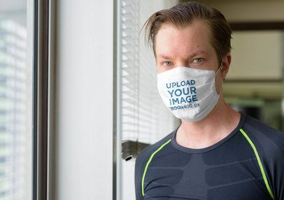Face Mask Mockup Featuring a Serious Man at the Gym 40930-r-el2