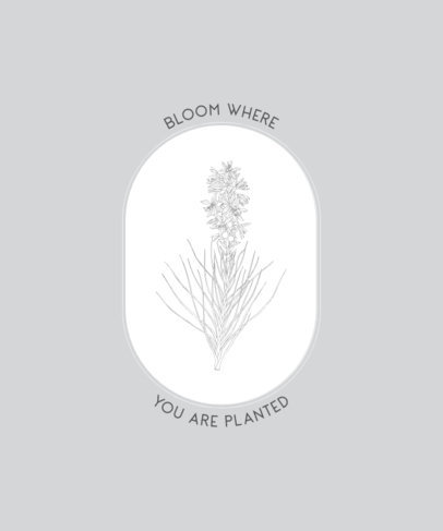 T-Shirt Design with a Fine Line Graphic of a Flower 2494d-el1