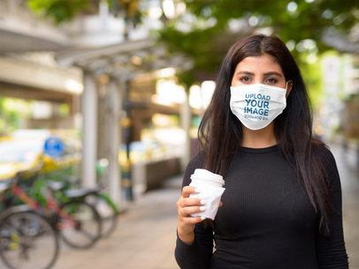 Face Mask Mockup of a Woman Having a Coffee To Go 40373-r-el2