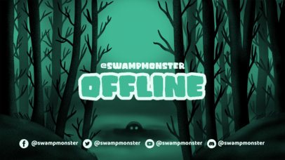 Illustrated Twitch Offline Banner Maker for Horror Gaming Channels Featuring a Haunted Forest 2796d