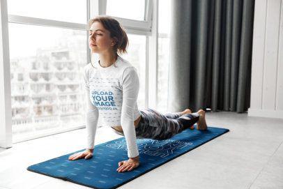 Long Sleeve Tee Mockup of a Woman on a Customizable Yoga Mat 39544-r-el2