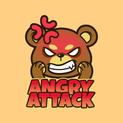 Illustrated Twitch Emote Logo Creator for a Gaming Team with an Angry Bear 3564d