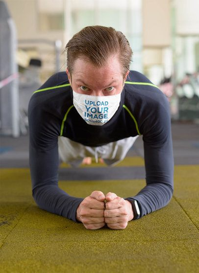 Mockup of a Man Wearing a Face Mask While Exercising At the Gym 40378-r-el2