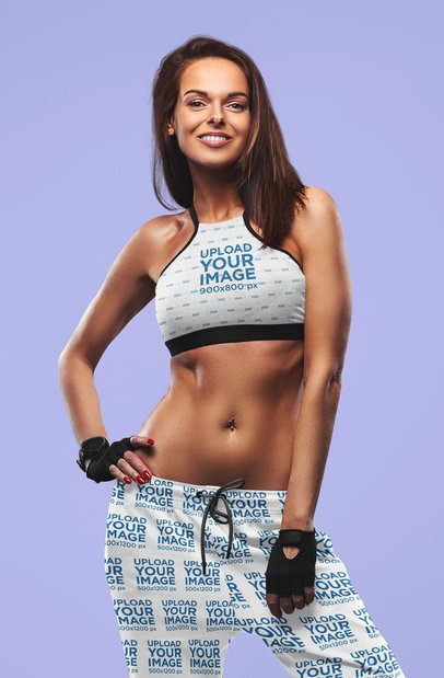 Mockup of a Fit Woman Wearing a Sports Bra and Sweatpants 37815-r-el2