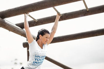 T-Shirt Mockup of a Woman Doing Military Training 40735-r-el2