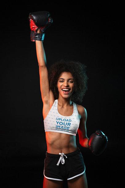 Sports Bra Mockup of a Woman Wearing Boxing Gloves 37716-r-el2