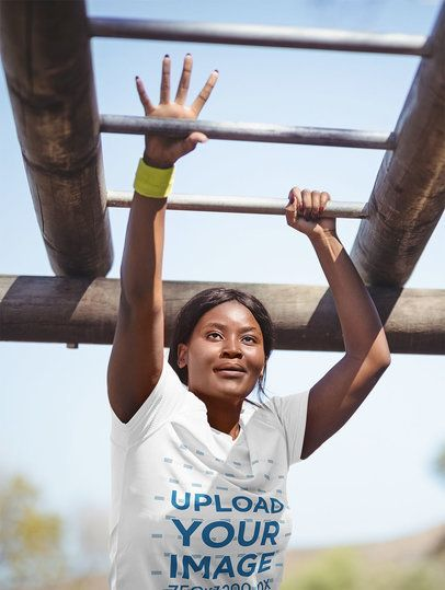 T-Shirt Mockup Featuring a Woman at a Military Boot Camp 40734-r-el2