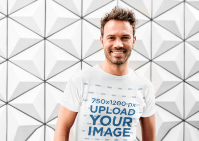 T-Shirt Mockup Featuring a Man Against a Patterned Background 40117-r-el2
