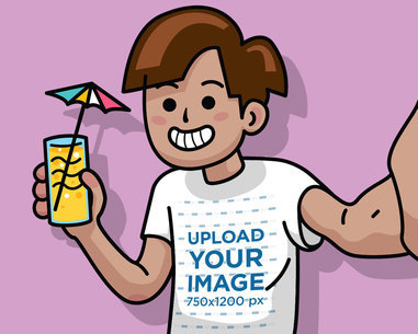 Illustrated T-Shirt Mockup of a Cartoonish Man Taking a Selfie with a Cocktail 39593
