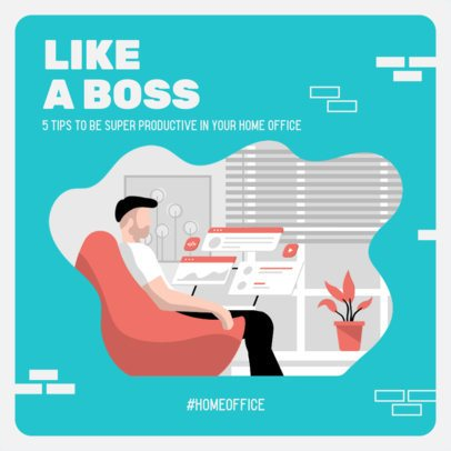 Instagram Post Maker Featuring an Illustration of a Man Doing Home Office 2583a-el1