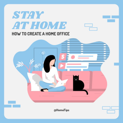 Instagram Post Maker with Home Office Setting Tips 2583d-el1