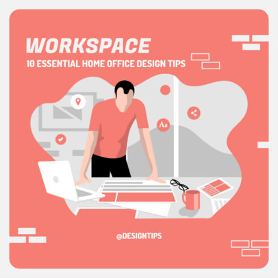 Instagram Post Maker with Illustrations of Home Office Design Tips 2583e-el1