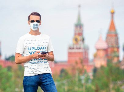 Mockup of a Man Wearing a T-Shirt and a Face Mask 35354-r-el2