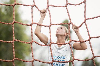 T-Shirt Mockup of a Military Recruit Woman Climbing a Net 40740-r-el2